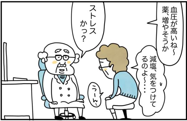 かかりつけ医の先生の判断で、薬を増やすことを提案されたました。「減塩、気をつけてるのよ~…」と悩む有田さんを見て先生は、「ストレスか?」と聞きました。