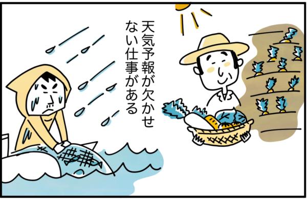 世の中には、農業や漁業など、天気予報が欠かせない仕事があります。