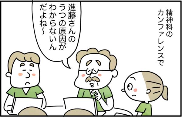 ある日、精神科のカンファレンスで、進藤さんという患者さんのうつの原因が不明だという話があがりました。
