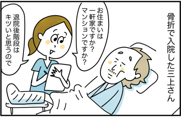 骨折で入院した三上さんという男性の患者さんがいました。「お住まいは一軒家ですか?マンションですか?退院後階段はキツいと思うので。」とアセスメントすると