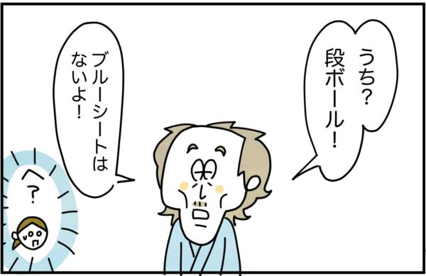 三上さんは、「うち?段ボール!ブルーシートはないよ!」と言ったため、私は驚いてしまいました。