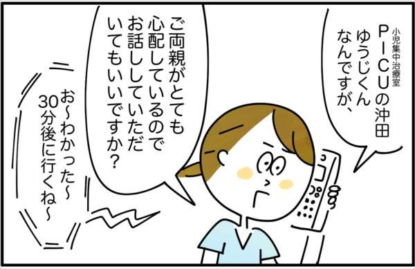 私は早速、担当の医師に「PICUの沖田ゆうじくんですが、ご両親がとても心配しているのでお話していただいてもいいですか?」と伝えました。
