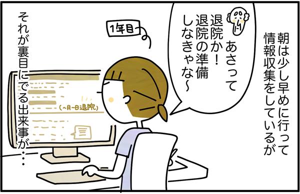 看護師1年目の豊島さんは、朝少し早めに出勤し、情報収集をしていて、その日も患者さんの退院が明後日と確認しました。しかし、それが裏目にでる出来事が…。