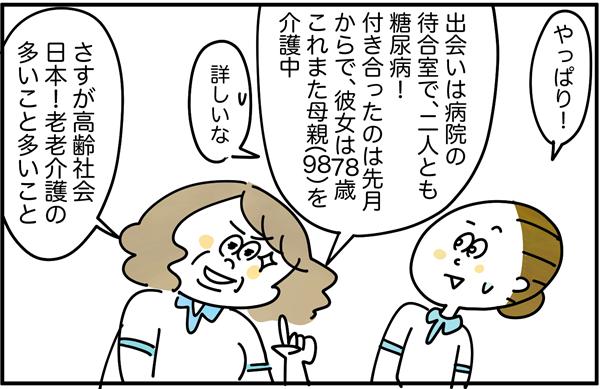 「出会いは病院の待合室で、二人とも糖尿病!付き合ったのは先月からで、彼女は78歳。これまた母親(98)を介護中。さすが高齢社会日本!老老介護の多いこと多いこと。」と説明しました。