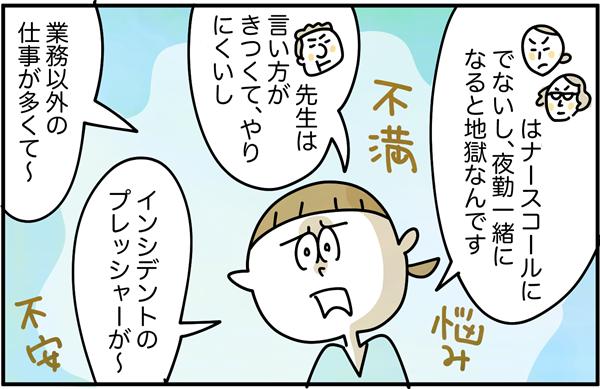 すると吉田さんは、「先輩はナースコール出ないし、夜勤一緒になると地獄。」「◯◯先生は言い方がきつくてやりにくいし」「業務以外のしごとが多くて」「インシデントのプレッシャーが~。」と溜まった不満や家並みを吐き出しました。