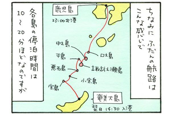 フェリーの普段の航路は、鹿児島を23時に出港し、口之島、中之島、諏訪之瀬島、平島、悪石島、小宝島、宝島、そして奄美大島に翌日14時半に入港。各島の停泊時間は10~20分ほど