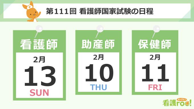 第111回看護師国家試験:20221年2月13日(日)、第105回助産師国家試験:2022年2月10日(木)、第108回保健師国家試験:2022年2月11日(金・祝)
