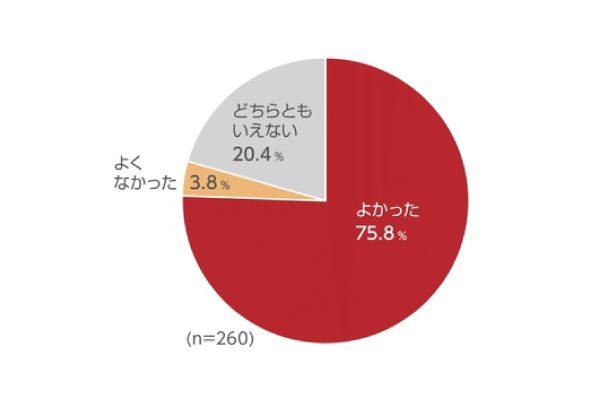 図1「あなたは看護師になってよかったと思いますか?」/よかった:75.8%、よくなかった:3.8%、どちらともいえない:20.4%