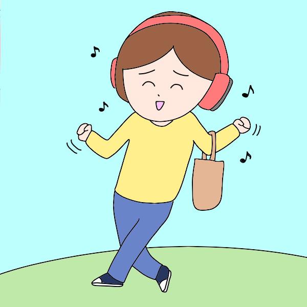 音楽聴きながら出勤する看護師