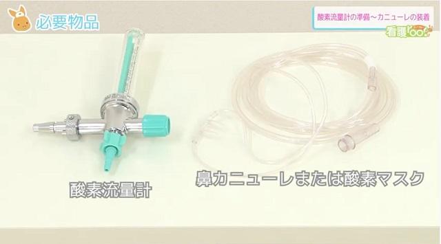 (1)酸素流量計  (2)鼻カニューレ または 酸素マスク