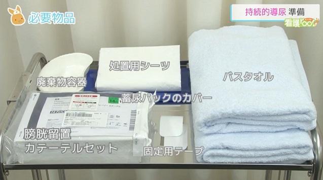 (1)膀胱留置カテーテルセット (2)固定用テープ (3)蓄尿バッグのカバー (4)膿盆またはビニール袋 (5)バスタオル (6)処置用シーツ