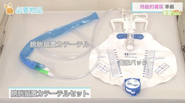 (1)膀胱留置カテーテル (2)蓄尿バック (3)滅菌手袋