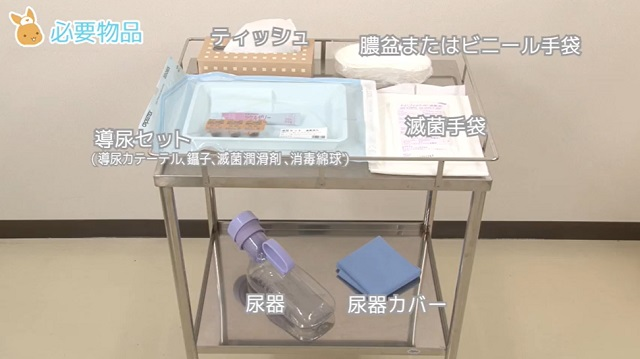 (1)導尿セット  導尿カテーテル ・鑷子 ・滅菌潤滑剤 ・消毒綿球 (2)尿器  (3)尿器カバー (4)滅菌手袋 (5)膿盆またはビニール袋 (6)ティッシュ (7)処置用シーツ