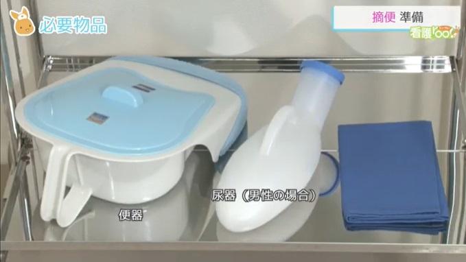 (1)平おむつ (2)潤滑剤 (3)ペーパー (4)手袋 (5)清浄綿 (6)ビニール袋 (7)便器(男性の場合は尿器も)