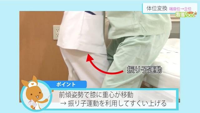 前傾姿勢で膝に重心が移動→振り子運動を利用してすくい上げる