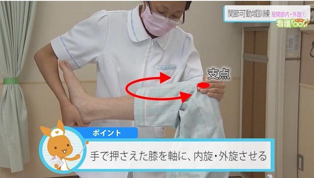手で押さえた膝を軸に、内旋・外旋させる