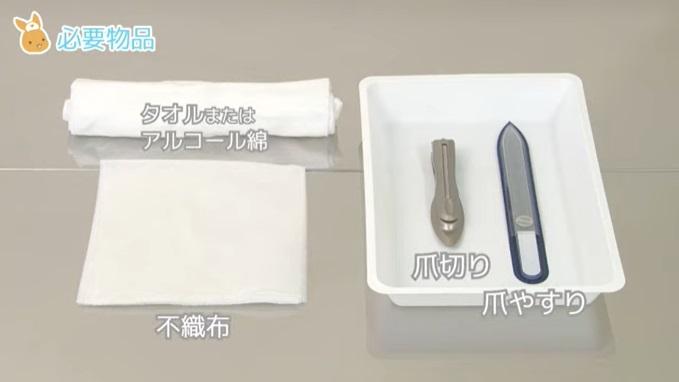 (1)爪切り  (2)爪やすり  (3)不織布またはティッシュペーパー  (4)タオルまたはアルコール綿