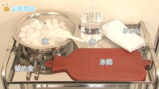 (1)氷枕 (2)氷 (3)水 (4)タオル (5)留め金