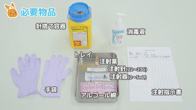 針捨て容器 消毒液 トレイ 注射薬 注射針(22~23G) 注射器(2~5mL) アルコール綿 注射指示書 手袋