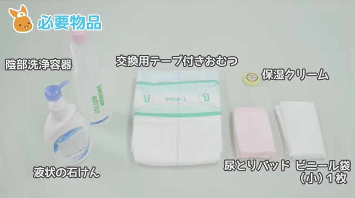 陰部洗浄容器 交換用テープ付きおむつ 保湿クリーム 尿とりパッド ビニール袋 小(1枚) 液状の石けん