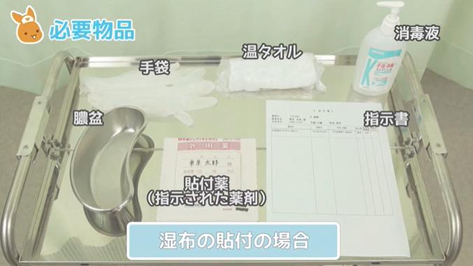 指示書 軟膏(指示された薬剤) 貼付薬(指示された薬剤) トレイ ディスポーザブル手袋 塗布用・貼付部位の清拭用タオル 温タオル ビニール袋(廃棄物入れとして使用) 膿盆(廃棄物入れとして使用)