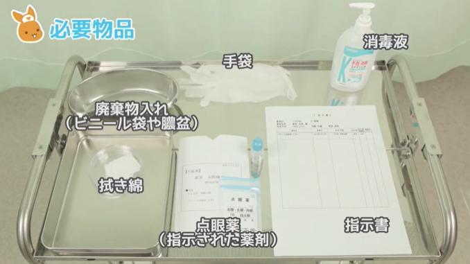 指示書 点眼薬・点入薬(指示された薬剤) トレイ ディスポーザブル手袋 拭き綿 廃棄物入れ(ビニール袋や膿盆)