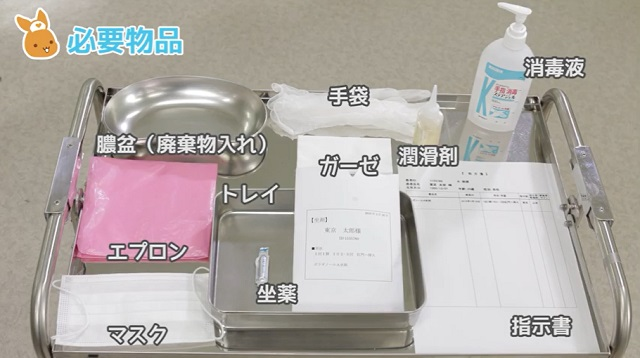 膿盆(廃棄物入れ) 手袋 消毒液 潤滑剤 ガーゼ 指示書 トレイ 坐薬 エプロン マスク