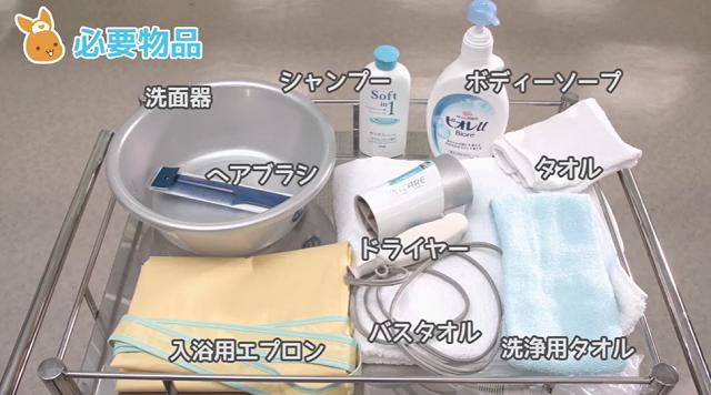 洗面器 シャンプー ボディーソープ フェイスタオル ドライヤー 洗浄用タオル バスタオル 入浴用エプロン ヘアブラシ