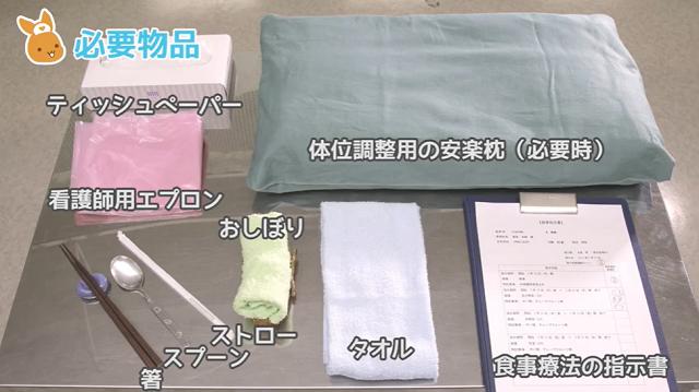 ティッシュペーパー 体位調整用の安楽枕(必要時) 看護師用エプロン 箸 スプーン ストロー おしぼり タオル 食事療法の指示書