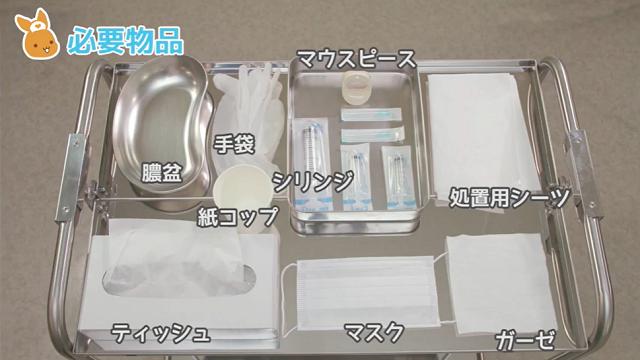 膿盆 手袋 紙コップ シリンジ 注射器 処置用シーツ ティッシュ マスク ガーゼ