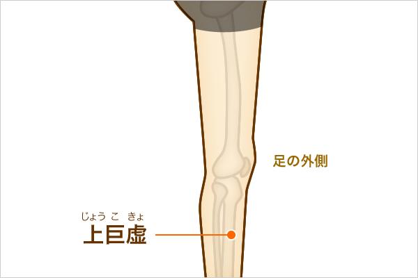 足のを外側にある上巨虚とよばれるツボの位置を表すイラスト。